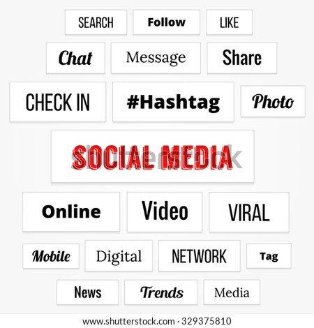 Social media concept tags with business - stock vector