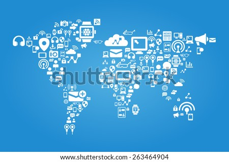 Social media concept - world map with social media icon - stock vector