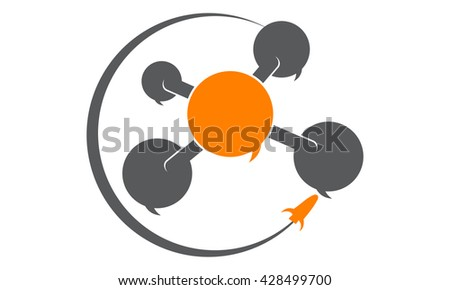 Social Media Connection Rocket - stock vector