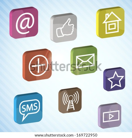 Social media 3d colorful design illustration with concept signs