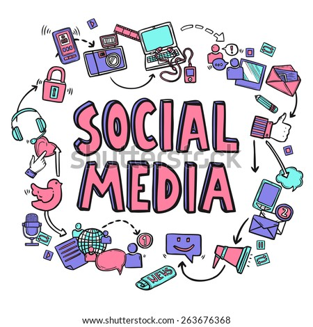 Social media design concept with hand drawn conversation icons vector illustration - stock vector