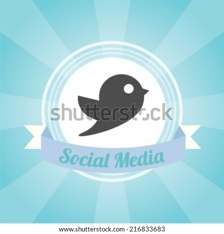 Social media   design over blue background