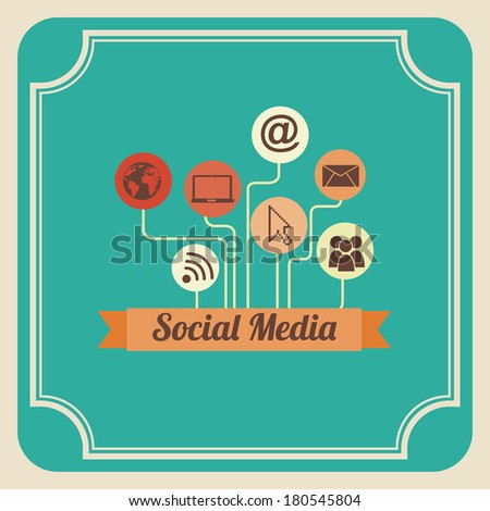 social media design over blue background vector illustration - stock vector