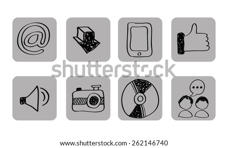 Line Art Media Design : Like camera social media black icons stock vector