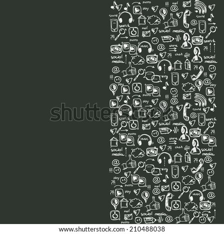 Social media doodle background - stock vector