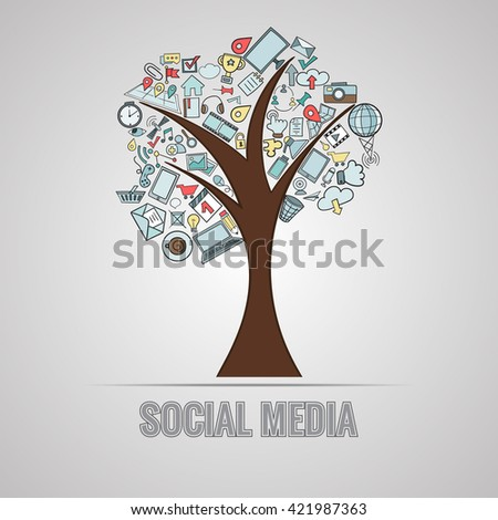 Social media doodles hand drawn vector symbols and objects