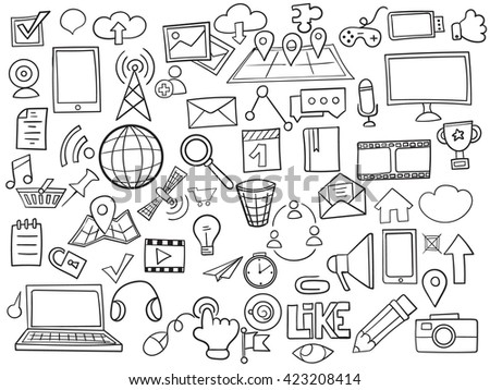 Social media doodles hand drawn vector symbols and objects set