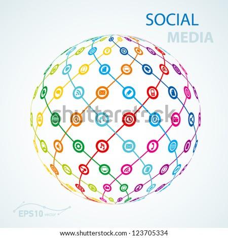 social media element icon sheme globe worldwide / vector - stock vector