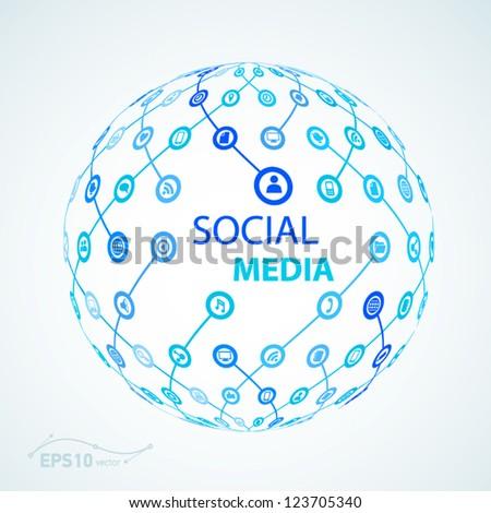 social media element icon sphere worldwide / vector effect - stock vector