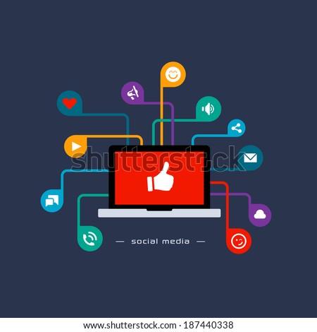 Social media flat concept - stock vector