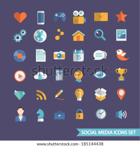 Social media flat icons set. - stock vector