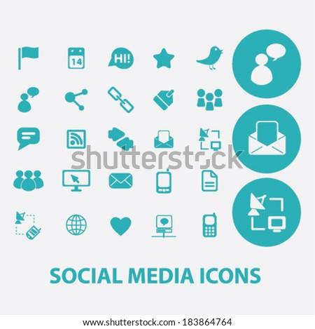 social media flat icons set  for digital web, print, design, mobile phone apps, vector - stock vector