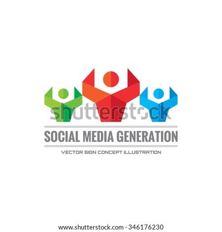 Social media generation - vector logo concept illustration. Human character logo. People logo. Abstract people logo. Vector logo template. Design element. - stock vector