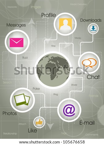 Social-Media Globe, the development of global communications. EPS 10. - stock vector