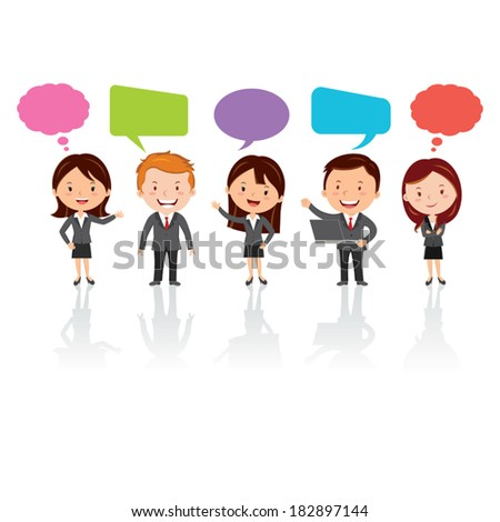 Social Media. Group of International business people with chat or thinking bubbles. - stock vector