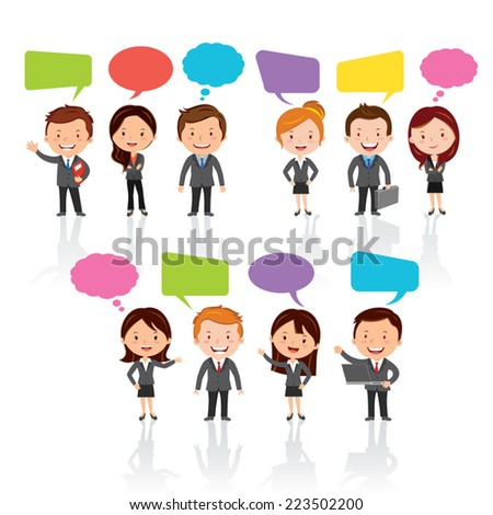 Social Media .Group of International business people with chat or thinking bubbles. - stock vector