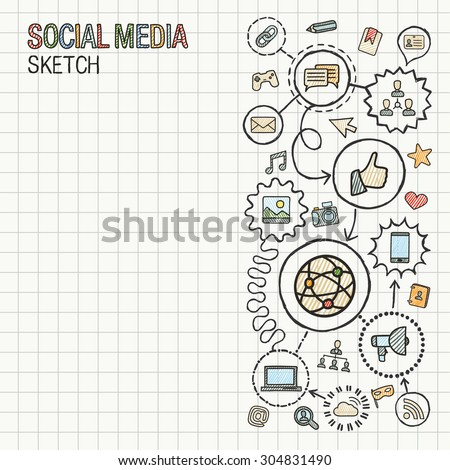 Social media hand draw integrate icons set on paper. Colorful vector sketch infographic illustration. Connected doodle pictogram: internet, digital, marketing, network, global interactive concept - stock vector