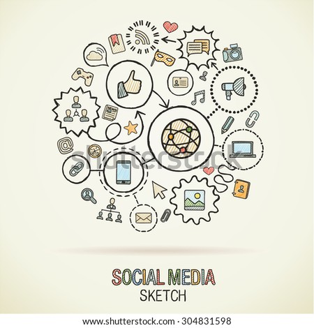 Social media hand drawing hatch icons. Vector doodle integrated pictogram set. Sketch infographic illustration on paper: internet, digital, marketing, connect, technology, global connected concepts - stock vector