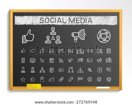 Social media hand drawing line icons. Vector doodle pictogram set: chalk sketch sign illustration on blackboard with hatch symbols: post, like, blog, forum, share, online, profile, relationship. - stock vector