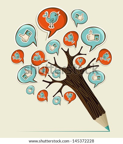 Social media hand drawn icons concept pencil tree. Vector illustration layered for easy manipulation and custom coloring. - stock vector
