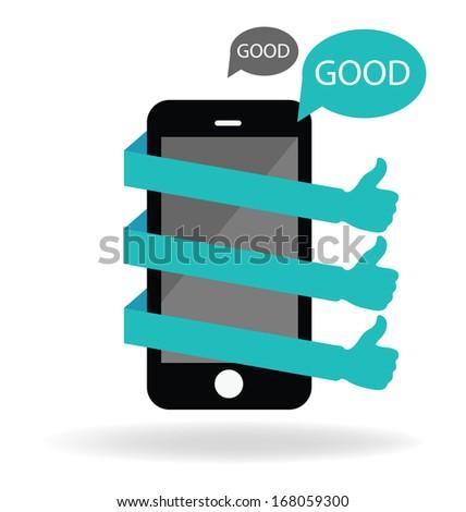 Social media. Hand signs vector. Good concept. - stock vector