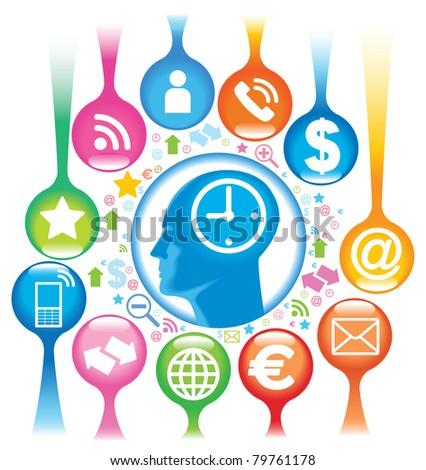 Social-Media-Head. The development of global communications - stock vector