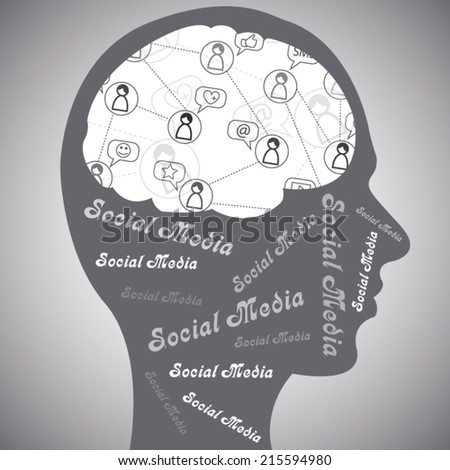 Social media human brain illustration concept poster for business grey style - stock vector