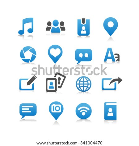 Social media icon set - Flat Series - stock vector