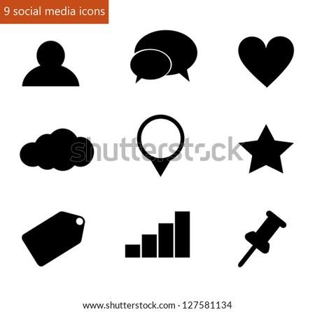 Social media icon set vector - stock vector