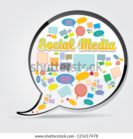 Social media icon. social media marketing abstract concept. network background. cloud computing concept of communication. - stock vector