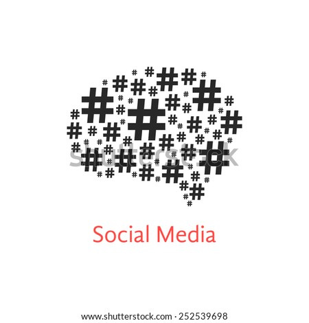 social media icon with brain from hashtag. concept of number sign, networks, sale and microblogger. isolated on white background. flat style trendy modern logo design vector illustration - stock vector