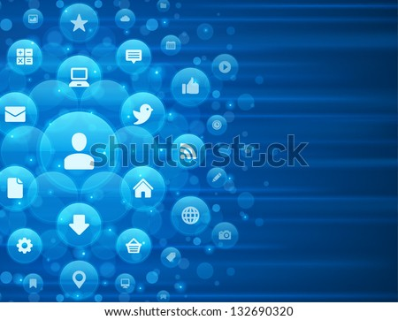 Social media icons and light vector background - stock vector