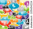 social media icons bubble for intelligent phone - stock