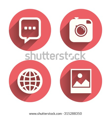 Social media icons. Chat speech bubble and world globe symbols. Hipster photo camera sign. Landscape photo frame. Pink circles flat buttons with shadow. Vector - stock vector