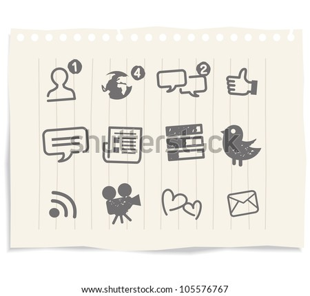 Social Media icons drawing sketch