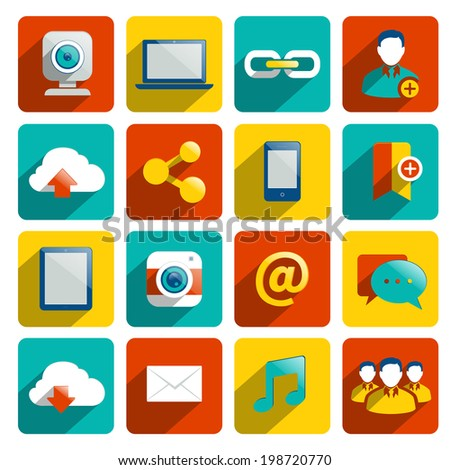 Social media icons flat set with internet network elements isolated vector illustration - stock vector