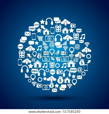 social media icons in circle shape over blue background. colorful design. vector illustration