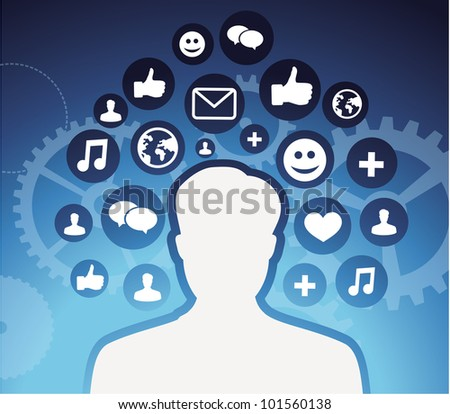 social media icons - male silhouette - vector concept - stock vector
