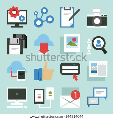Social Media icons minimal design, vector - stock vector
