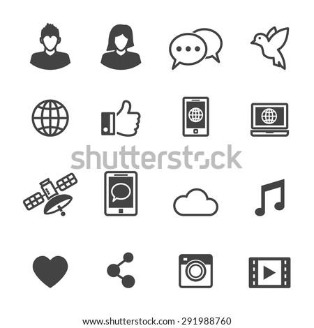 social media icons, mono vector symbols - stock vector