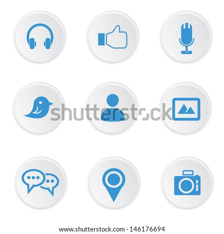 Social media icons,on white background,vector - stock vector