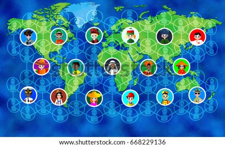 Social media icons on world map stock vector 668229136 shutterstock social media icons on world map background color vector illustration gumiabroncs Image collections