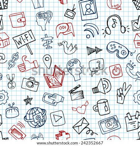 Social Media Icons seamless pattern in Doodle sketchy on Notepaper .Hand drawing set.For Backdrop,background,fabric,Wallpaper.Vector background.