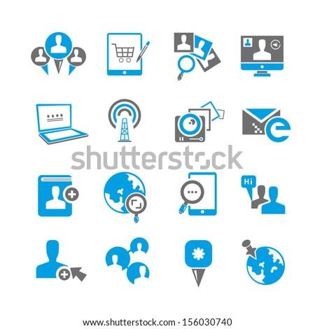 social media icons set - stock vector