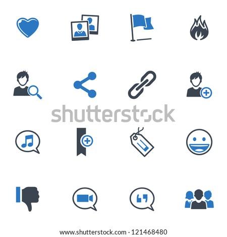 Social Media Icons Set 2 - Blue Series - stock vector