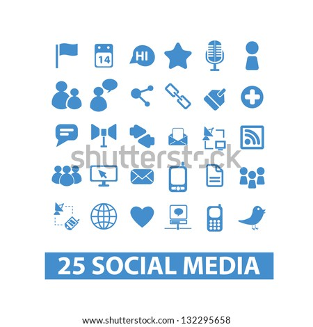 social media icons set - blue version, vector - stock vector