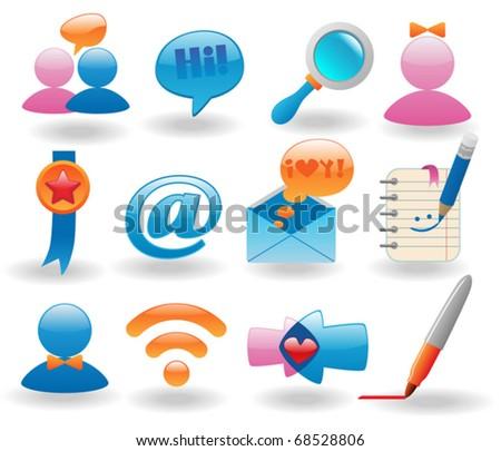 Social media icons set for web design - stock vector