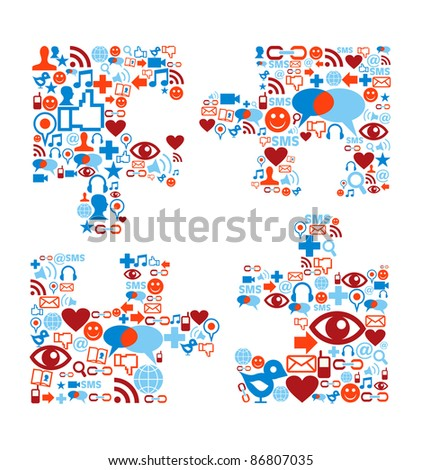 Social media icons set in puzzle shape composition - stock vector