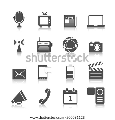 Social media icons set of mobile network computer camera and microphone recorder isolated vector illustration - stock vector