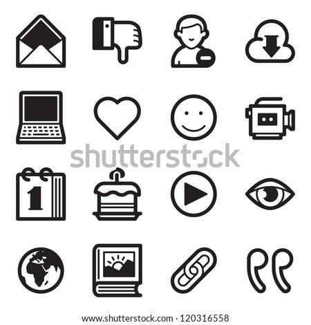Social Media Icons Set 2 - Simpla Series - stock vector